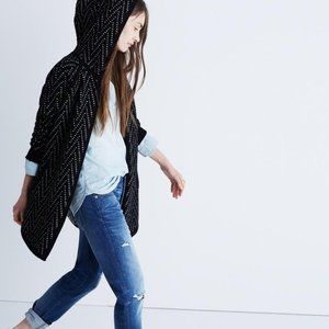 Madewell Hooded Herringbone Cardigan Sweater